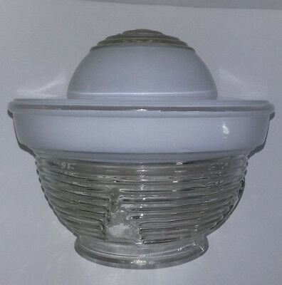 Vintage Art Deco Light Fixture White Frosted, Clear Glass/milk Glass