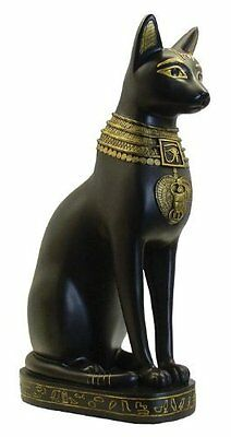 "12.25"" Egyptian Medium Bastet Sculpture Ancient Egypt God Statue Black Gold Cat"