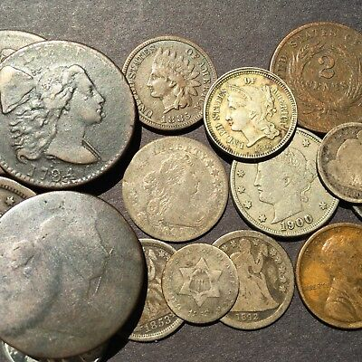 1807 DIME, 1794 and 1796 LARGE CENTS in 16 COIN LOT