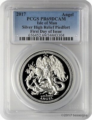 2017 Isle of Man Silver High Relief Piedfort Angel 2oz PCGS PR69DCAM FD