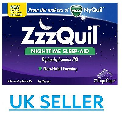 *UK* Vicks ZzzQuil 24 Liquicaps Sleeping Nighttime Nyquil Dayquil Sleep-aid