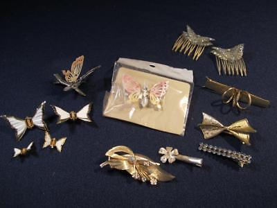 Vintage HAIR ACCESSORIES 13 LOT Combs Spring Clips BUTTERFLY barrette rhinestone
