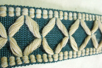 Wide Thick Tape Blue White Trim Vintage French Passementerie