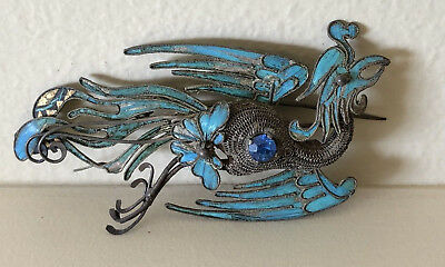 Antique Kingfisher China Feather Brooch Phoenix Bird Jewelry