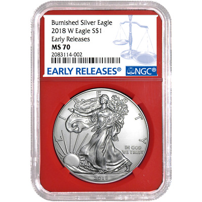 2018-W Burnished $1 American Silver Eagle NGC MS70 Blue ER Label Red Core