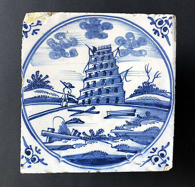 A Rare Dutch Delft Biblical Tile Depicting The Tower Of Babel, 1720