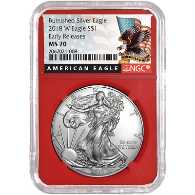 2018-W Burnished $1 American Silver Eagle NGC MS70 Black ER Label Red Core