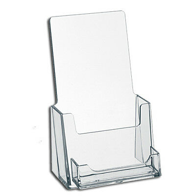 Clear Acrylic Tri-Fold Brochure Holder with Business Card Pocket *NEW *FREE SHIP
