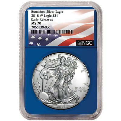 2018-W Burnished $1 American Silver Eagle NGC MS70 Flag ER Label Blue Core