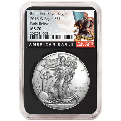2018-W Burnished $1 American Silver Eagle NGC MS70 Black ER Label Retro Core