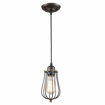 CLAXY Vintage Style Industrial Oil Rubbed Bronze Hanging Light Mini Pendant