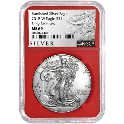 2018-W Burnished $1 American Silver Eagle NGC MS69 ALS ER Label Red Core
