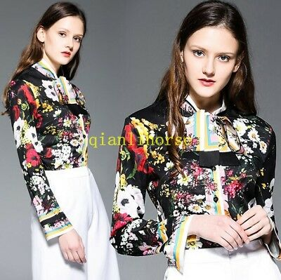 Dusky Pink Blue Gold Pussy Bow Tie Runway Designer Inspired  Blouse uk 8 10 12