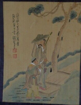 Antique Japanese ink and colour study of teacher with pupil-Edo period.