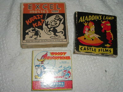 Three Vintage Castle Film Films Boxes Good Graphics Woody Woodpecker Krazy Kat