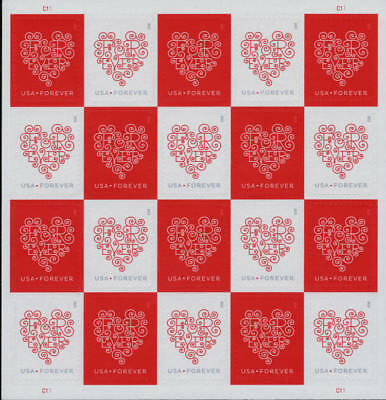 2015 49c Lacy Forever Hearts, Sheet of 20 Scott 4955-56 Mint F/VF NH