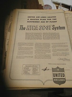 Original old  newspaper 1949 Advert United Airlines Aircraft aviation