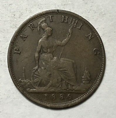 1886 FARTHING - GREAT BRITAIN * GREAT OLD BRITISH COPPER - VICTORIA -Lot#284