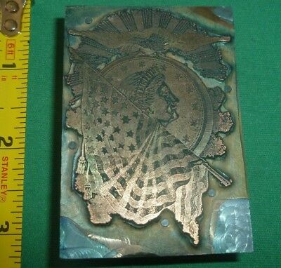 Antique 1900s Copper & Metal on Wood Printing Block Federal LIBERTY EAGLE FLAG