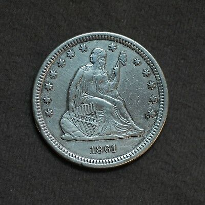 Very Nice 1861 P Liberty Seated 90% Silver 25 Cent Quarter Dollar Coin NoReserve