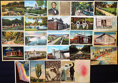 24 US EARLY AND LINEN POSTCARDS 1900s - 1940s