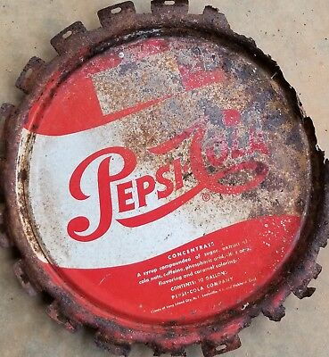 Pepsi Cola 5 Gallon Soda Fountain Syrup Concentrate Bucket Can Lid Sign Vintage