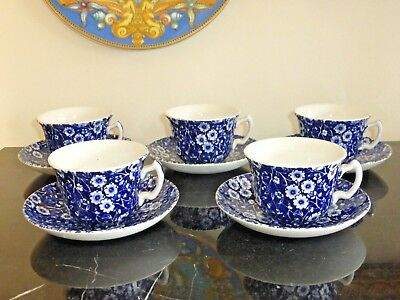 Royal Crownford Staffordshire Calico Blue Cups And Saucers Set Of 5
