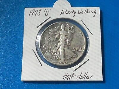 "1943 ""D"" US Liberty Walking half dollar coin."