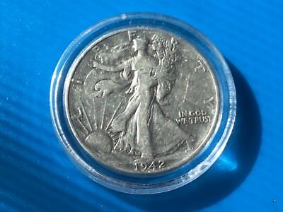 1942 US Liberty Walking half dollar coin.