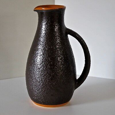 Hanstan Pottery Large Pitcher Jug in Orange & Brown Glaze c.1970s