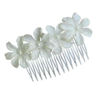 Fabric Bridal Flower Hair Comb White Clips for Wedding Party Lady Girl Decor