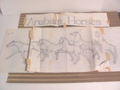 💕 Sketch of Shary Akers Famous Master Piece Arabian Horses The Race 2 Finish