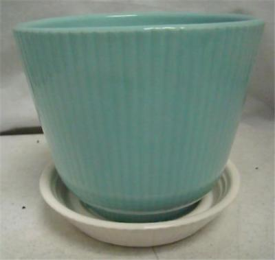Mid Century Planter Ceramic SHAWNEE Ribbed USA 496 Aqua & White Great Cond MCM