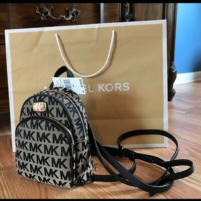11eafbe6c8f04 ... germany nwt michael kors abbey xs mini backpack logo mk beige black  signature msrp 248 b4d68