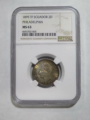 Ecuador 1895 2 Dos Decimos De Sucre Ngc Ms63 Rainbow Toned Coin Collection Lot