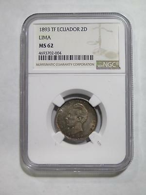 Ecuador 1893 2 Dos Decimos De Sucre Ngc Ms62 Rainbow Toned Coin Collection Lot