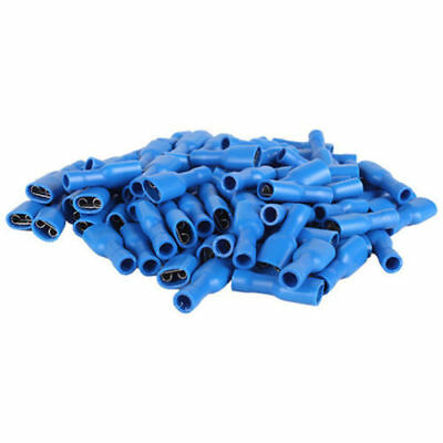 100 pc Blue Female Fully Insulated Spade Terminals, Connectors, Crimp joiner