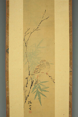 "JAPANESE HANGING SCROLL : TSUBAKI CHINZAN ""Bird on Branch""  @e342"