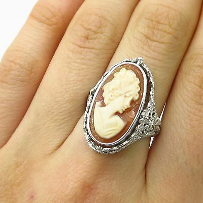 925 Sterling Silver Cameo Victorian Lady / Lapis Gem Wide Reversible Ring Size 7