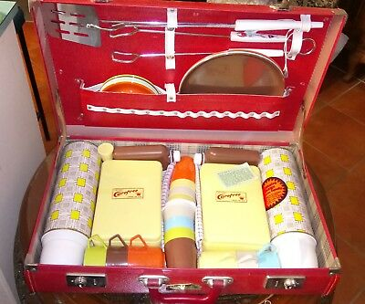 Picnic set, Retro 70's Red Suit case Never used minor scratched on top of case