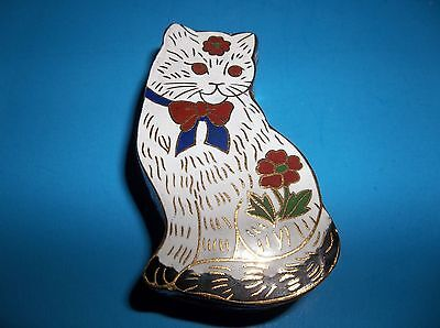 Vintage Chinese Cloisonne Enamel CAT Trinket Box