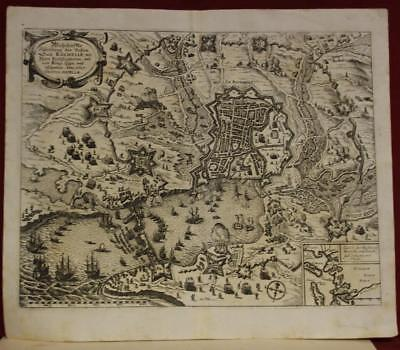 La Rochelle France 1627 Anonymous Unusual Antique Copper Engraved City View