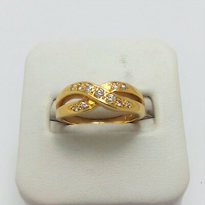 18Ct Yellow Gold Diamond Crossover Ring Valued @$1405 Comes With Valuation