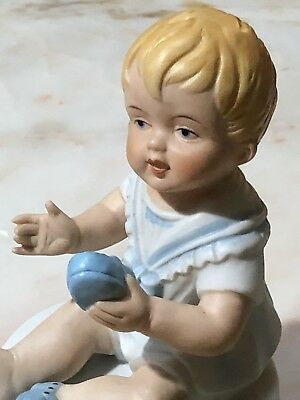 VINTAGE BISQUE PORCELAIN PIANO BABY DOLL STATUE FIGURINE ~Adorable!