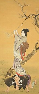 "JAPANESE HANGING SCROLL : KAWANABE KYOSAI ""Kimono Beauty on Man""  @e320"