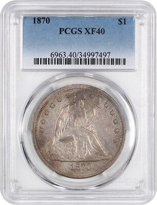 1870 $1 PCGS XF40 - Great Type Coin - Liberty Seated Dollar - Great Type Coin
