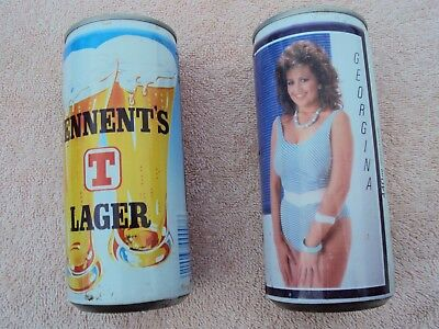 """2 """"TENNENT LAGER"""" ENGLISH BEER CANS WITH GLAMOUR MODELS 440ml.BOTTOM OPENED"""