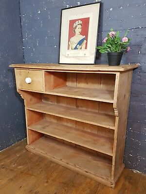 Victorian stripped pine kitchen shelves bookcase, either wall or free standing