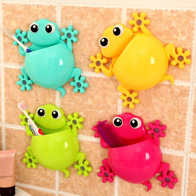 Cute Bathroom Toothbrush Toothpaste Holder Wall Suction Cups Organizer for Kid's