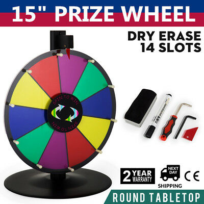 "Upgraded Editable 15"" Color Prize Wheel Fortune Tabletop Spinning Game"